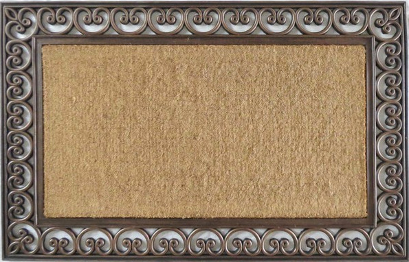rubber and coir classic paisley border extra large double doormat