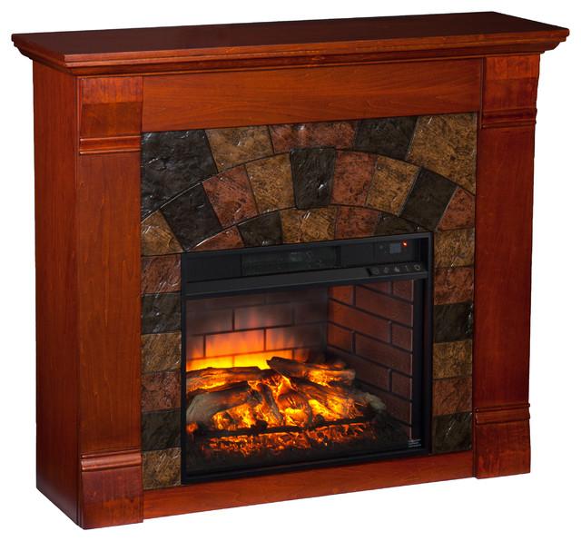 Ridgelea Faux Stone Infrared Electric Fireplace Mahogany