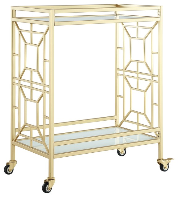 Inspired Home Ambrocio Bar Cart, Casters/2 Locking, Glass Shelves, Gold/White by Inspired Home