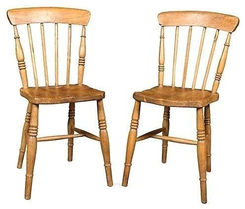 Antique English Pine Chairs - A Pair - Antique English Pine Chairs - A Pair - Farmhouse - Dining Chairs
