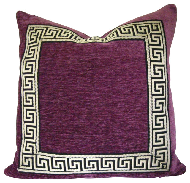 Purple Pillow With Greek Key Trim