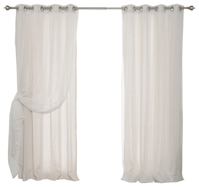 """Tulle & Faux Linen Mix & Match Curtains, Natural, 52""""x84""""."""