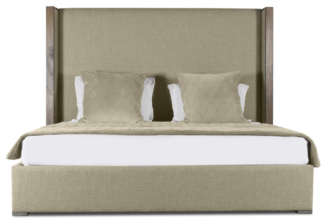 Claire Plain Upholstery High Height Queen Size Bed, Sand.