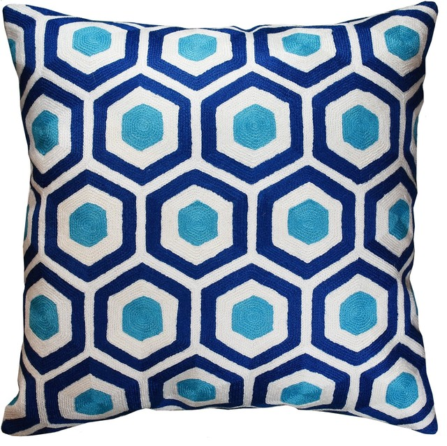 Contemporary Honeycomb Navy Turquoise Throw Pillow Cover Handmade Wool  18x18\