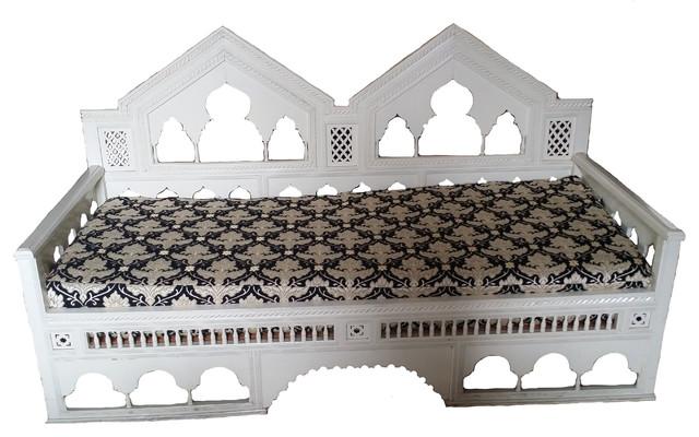Moroccan Moorish Hand-Carved Wood Sofa.
