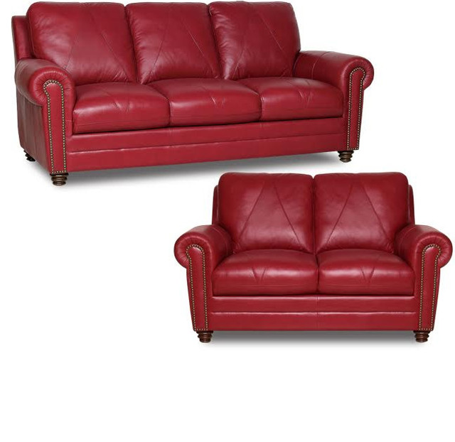 Luke Leather Weston Sofa And Loveseat Cherry 2 Piece