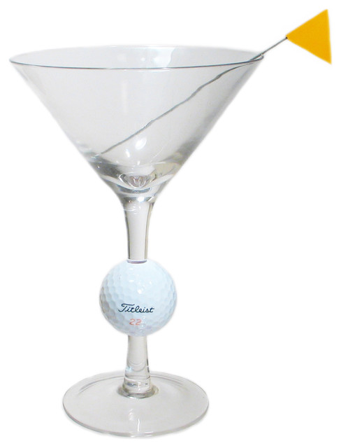 Fairway Martini Glass With Golf Ball And Flag Skewer