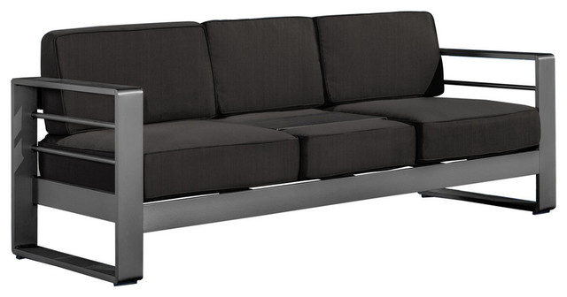 GDF Studio Crested Bay Outdoor Gray Aluminum Sofa Couch With Cushions