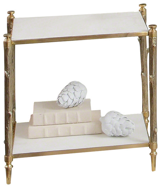 Global Views Arbor Side Table, Brass And White Marble Transitional Side  Tables