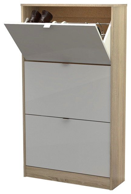 Bright 3 Drawer Shoe Cabinet, Oak Structure/White High Gloss Contemporary  Shoe