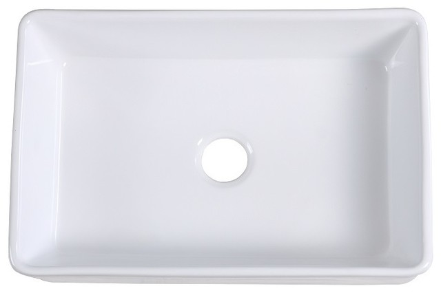 Lottare White Single Bowl Fireclay Farmhouse Sink, Grid Included.