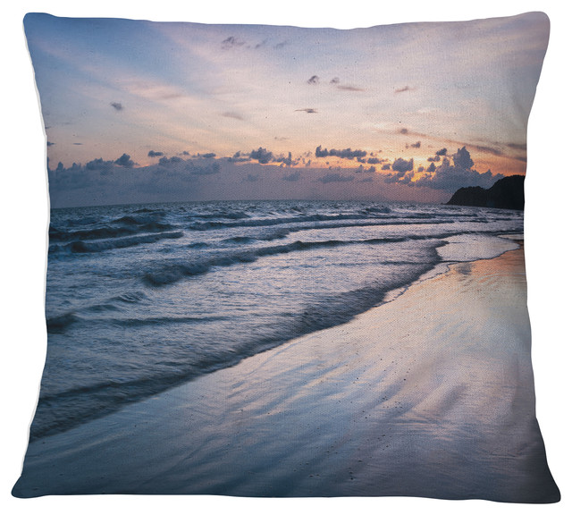Blue Sunset Sea Waves Thailand Oversized Beach Throw Pillow 18 X18