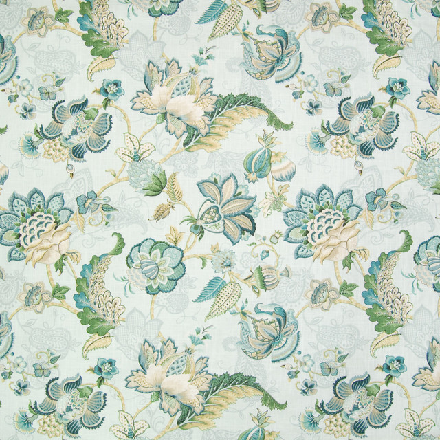 Mist Blue Teal Floral Linen Made in USA Print Upholstery Fabric