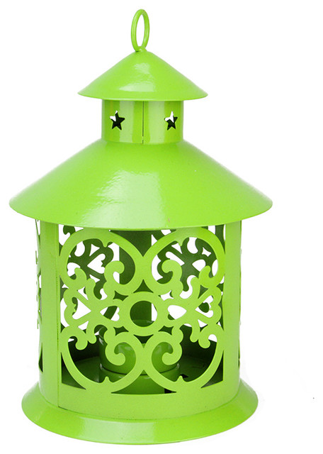 "8"" Tealight Candle Holder Lantern With Star and Scroll Cutouts, Green"