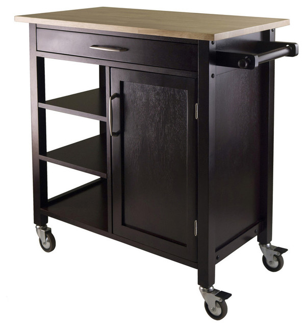 Mali Wooden Kitchen Cart, Espresso Transitional Kitchen Islands And Kitchen
