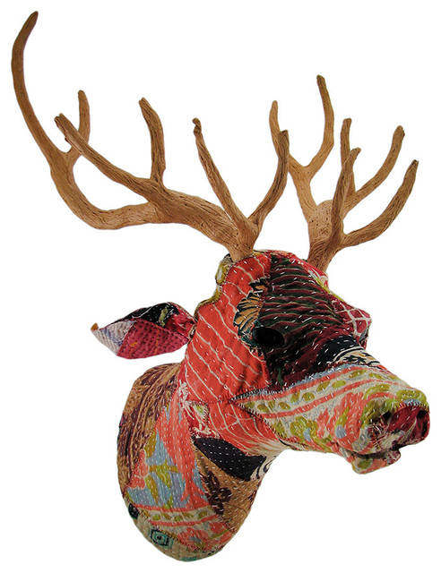 Recycled Indian Sari Fabric Covered Deer Head Wall Mount