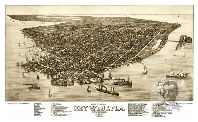 image relating to Printable Map of Key West identify Historical Main West, FL Map 1884, Typical Florida Artwork Print, 12\