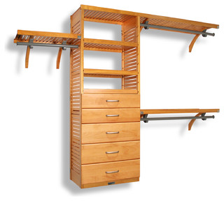 Deep Closet Organizer With 5 Drawers, Honey Maple