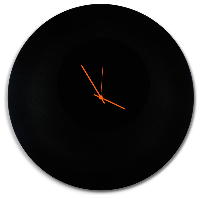Blackout Orange Circle Clock Large Modern Minimalist Black Wall Clocks