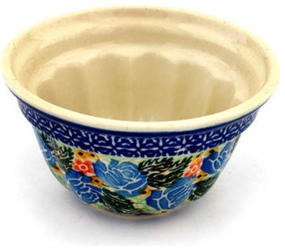 "Polish Pottery 5"" Stoneware Bundt Cake Pan Hand-Decorated Design."