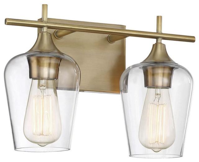 Savoy House Octave 2-Light Bathroom Vanity Light in Warm Brass