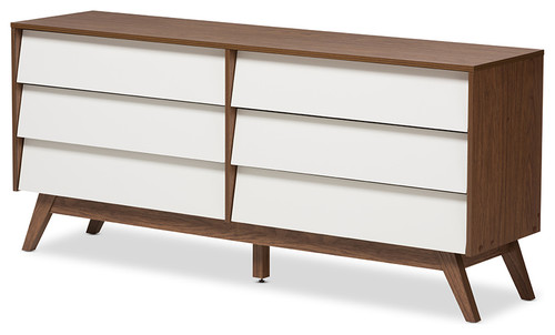 Hildon White and Walnut Wood 3-Drawer Storage Chest, 6-Drawer