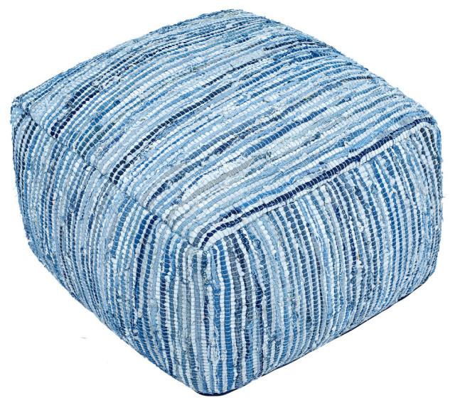 """Matador Off-White Leather Pouf 19""""x30"""", Blue Jeans"""