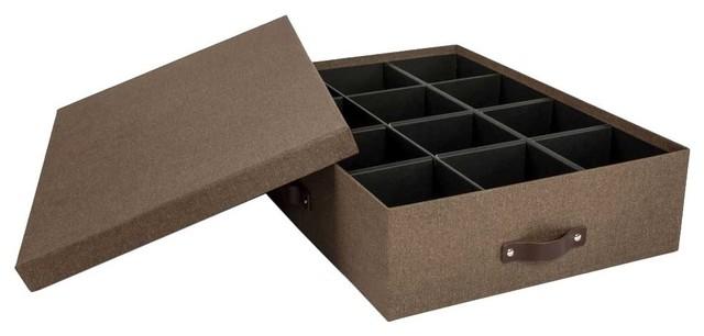 Storage Bin With Dividers, Dark Brown.