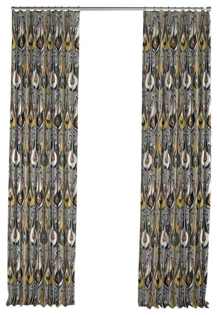 Loom Decor Modern Gray And Orange Ikat Pleated Curtain