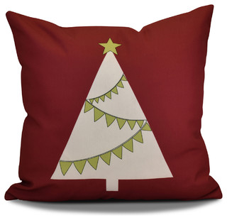 "Decorative Holiday Outdoor Pillow Geometric Print, Cranberry, 18""x18"""