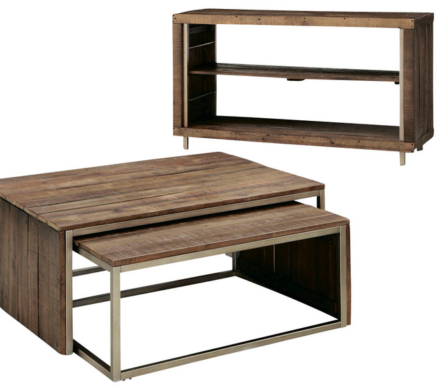 Hammary Flashback 2-Piece Nesting Coffee Table Set in Rusty Red-Brown  traditional- - Hammary Flashback 2-Piece Nesting Coffee Table Set In Rusty Red