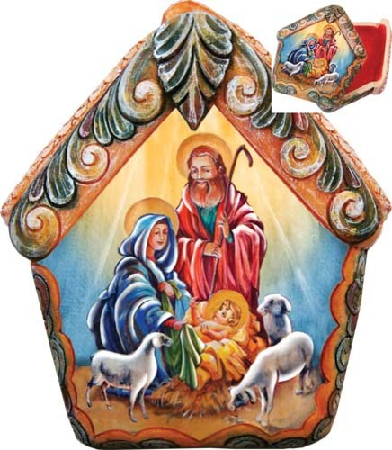 Hand Painted Nativity Scene Wrapped Wishes Dome Box.