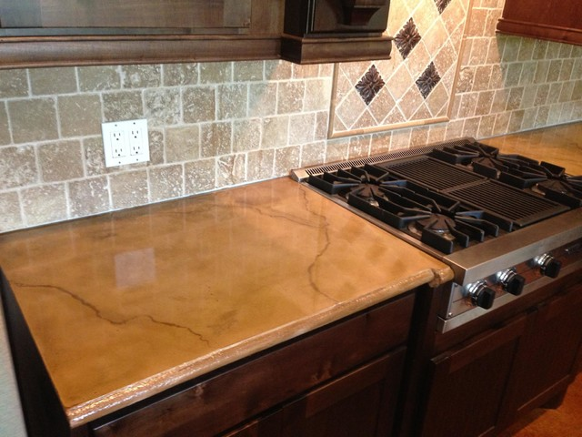 colored and stained concrete countertop rustic houston by - Colored Concrete Countertops