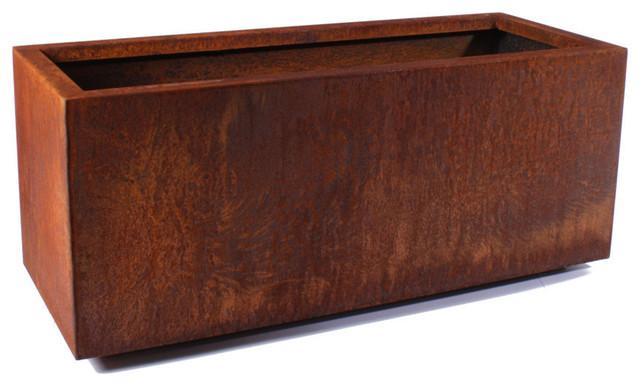 Metallic Series Corten Steel Long Box Planter, Large