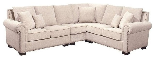 Attractive Bowery Hill Fabric Nailhead Sectional Sofa, Sandstone