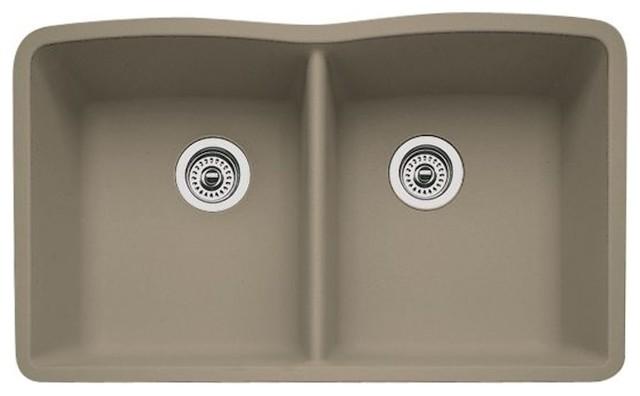 Blanco Drop-In Equal Double Bowl Silgranit Ii, Undermount Sink, Truffle.