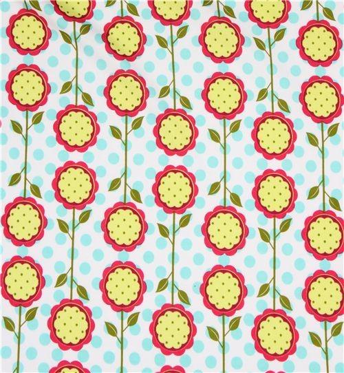 Michael Miller knit fabric Mod Blooms sunflowers