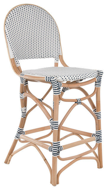 Rattan Bistro Bar Chair White And Blue Tropical Bar