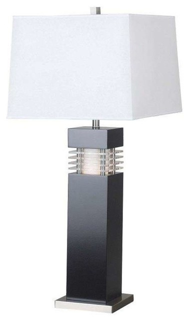 Wyatt 2-Light Table Lamps, Black/acrylic.