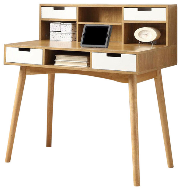 ... Laptop Tablet Desk, White Oak Wood Finish - Desks And Hutches | Houzz