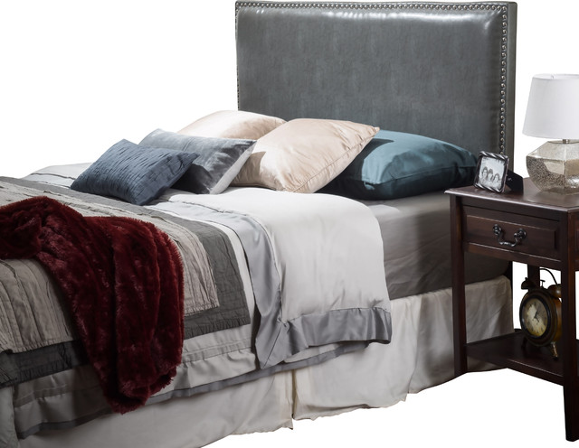 Westin King-To-Cal King Adjustable Leather Headboard, Gray.