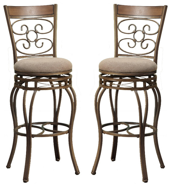 Swivel Fabric Cushion Metal Frame Bar Stools Set Of 2