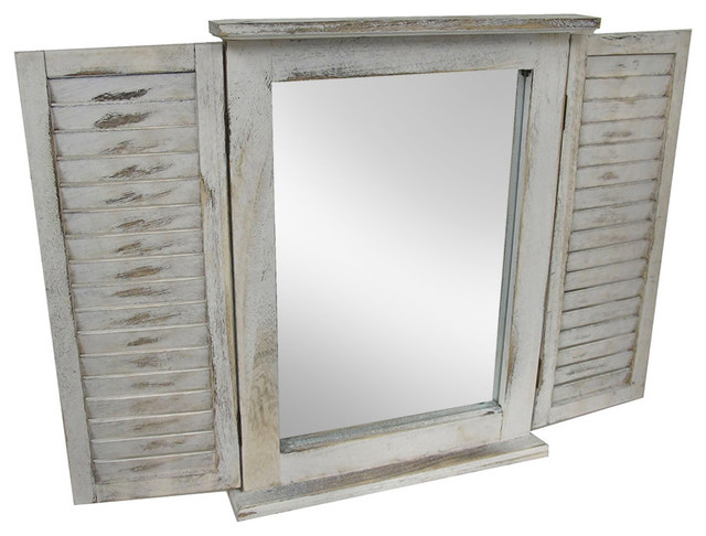 Distressed Finish White Wooden Shutter Wall Mirror.