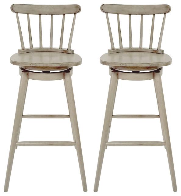 Strange Mia Farmhouse Spindle Back 30 Rubberwood Swivel Barstools Set Of 2 Aged Gray Evergreenethics Interior Chair Design Evergreenethicsorg