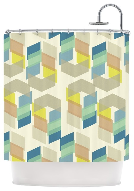 Gukuuki Kobob Chevron Geometric Brown Shower Curtain