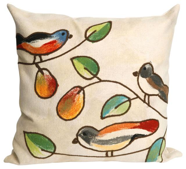 """Song Birds Cream Pillow - 20"""" SQ"""