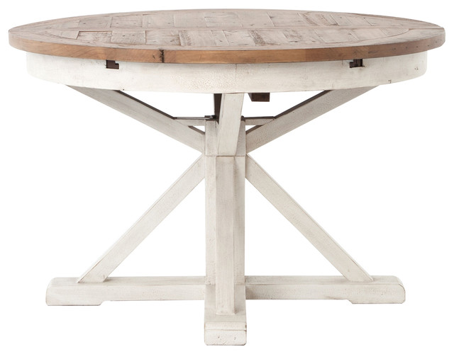 Coastal Beach Reclaimed Wood White Expandable Round Dining Table 63