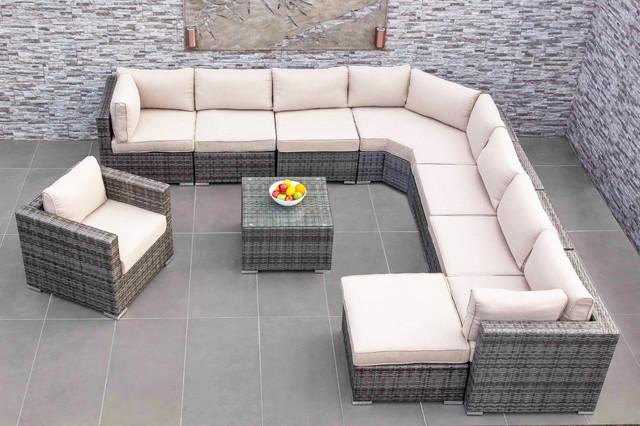 Lovely MODA Furnishings Outdoor Wicker Furniture   Amalfi Angled Corner Sofa Set 8  Modern Outdoor