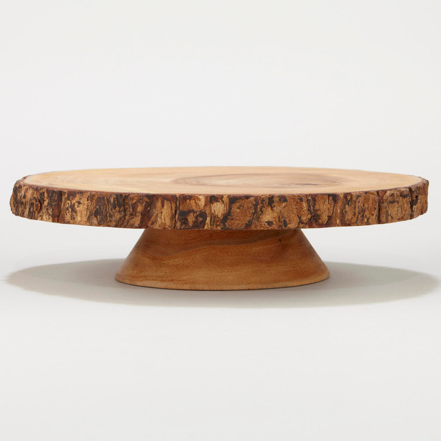 Wood Bark Pedestal Stand