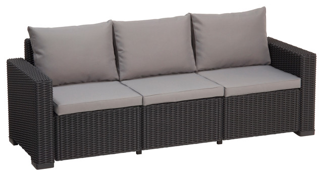 California 3-Seat Outdoor Seating Resin Patio Sofa With Cushions In Graphite.